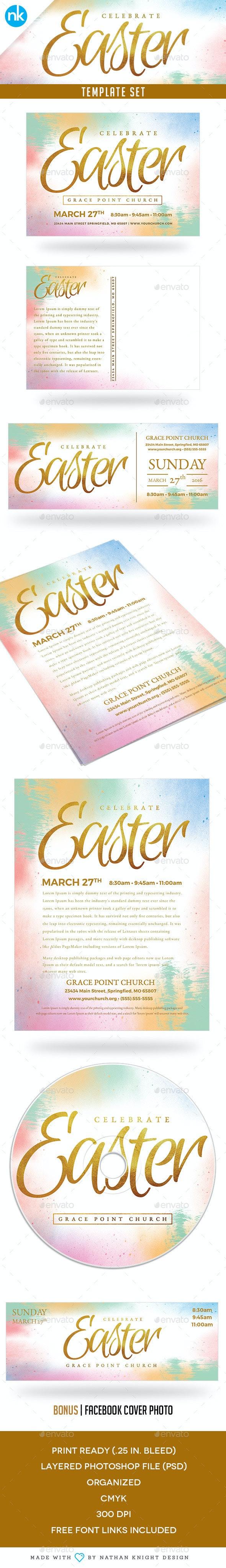 Easter Sunday Church Template Set - Celebrate - Church Flyers