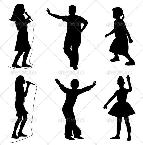 Kids singing dancing - People Characters