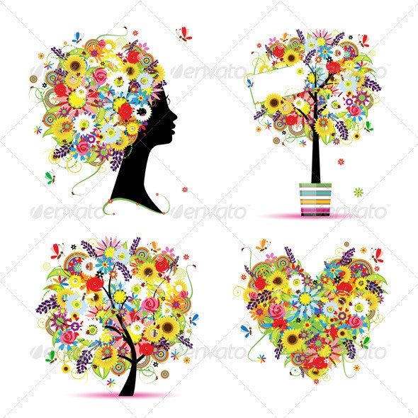 Summer style - tree, frame, bouquet, female head - Flowers & Plants Nature