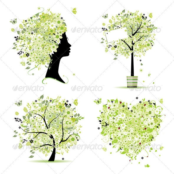 Spring style - tree, frame, female head, heart - Flowers & Plants Nature
