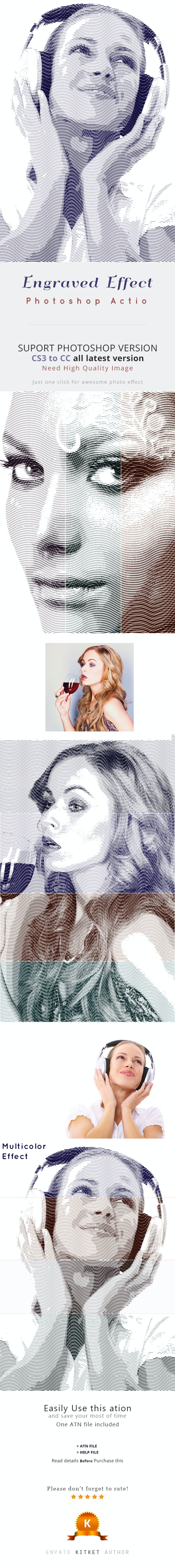 Engraved Effect Photoshop Action - Photo Effects Actions