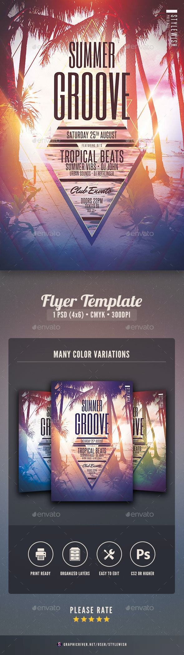 Summer Groove Flyer - Clubs & Parties Events