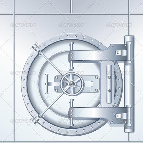 Illustration of Bank Vault Door - Characters Vectors