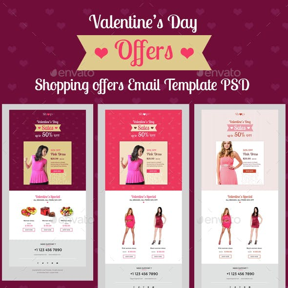 Valentine's Day Shopping Offers E-Newsletter PSD Template