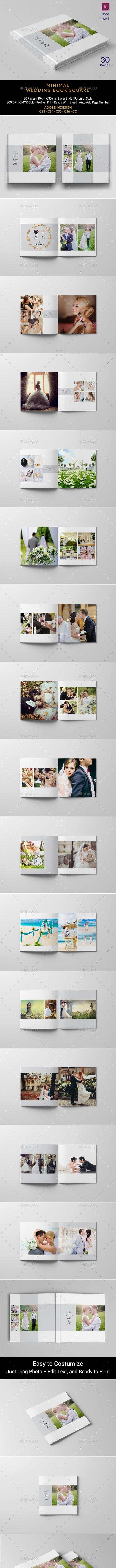Minimalist Square Wedding Album - Photo Albums Print Templates
