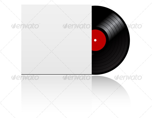 Vinyl record disk in box - Retro Technology