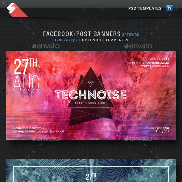 Electronic Music Party Vol1 - Facebook Post Banner Templates