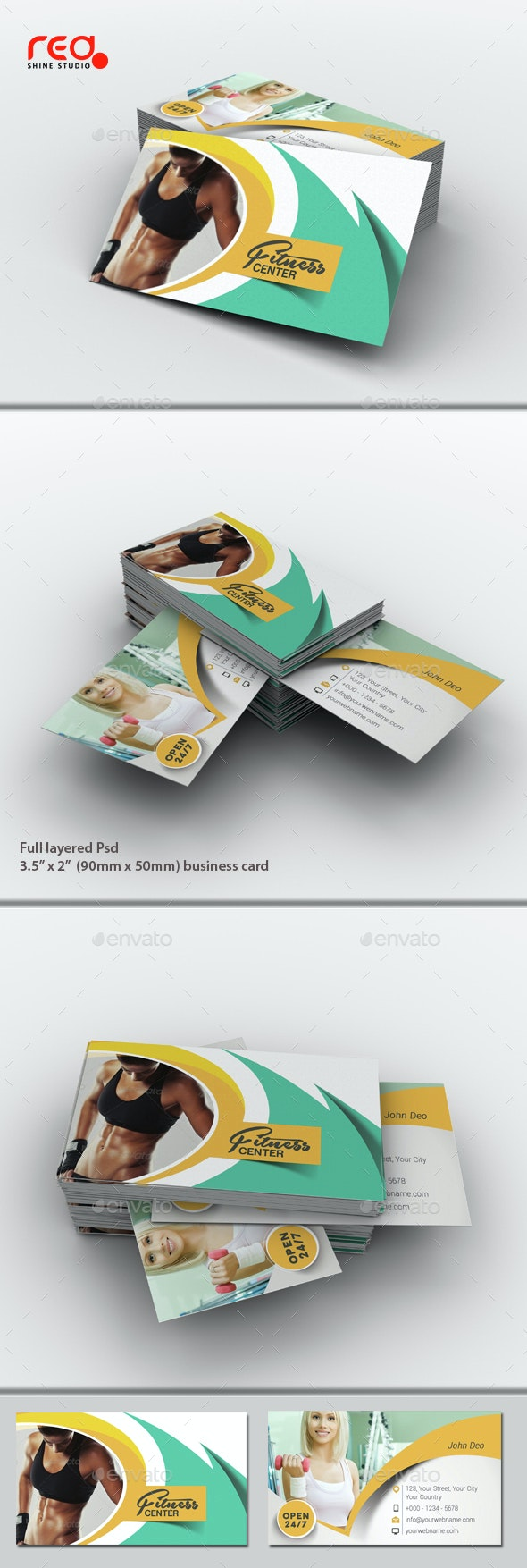 Fitness & Yoga Center Business Card Set - Industry Specific Business Cards