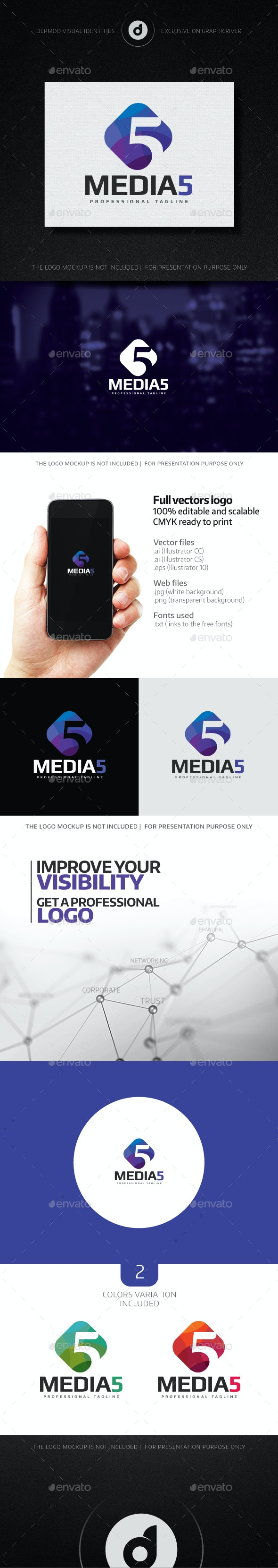 Media 5 Logo - Numbers Logo Templates