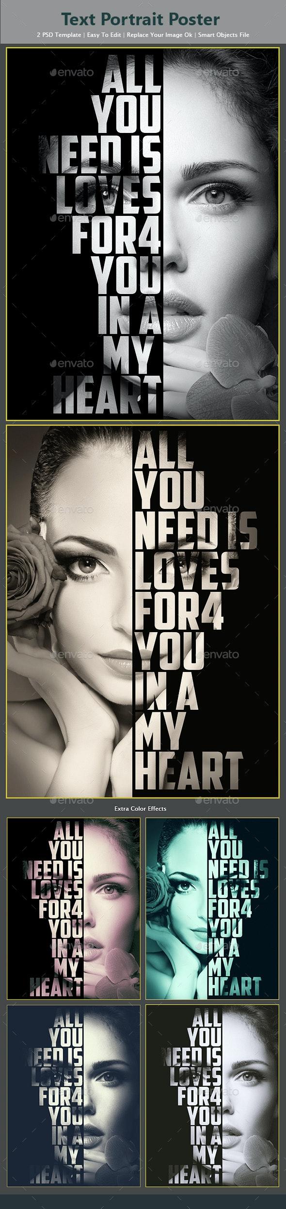 Text Portrait Poster - Photo Templates Graphics