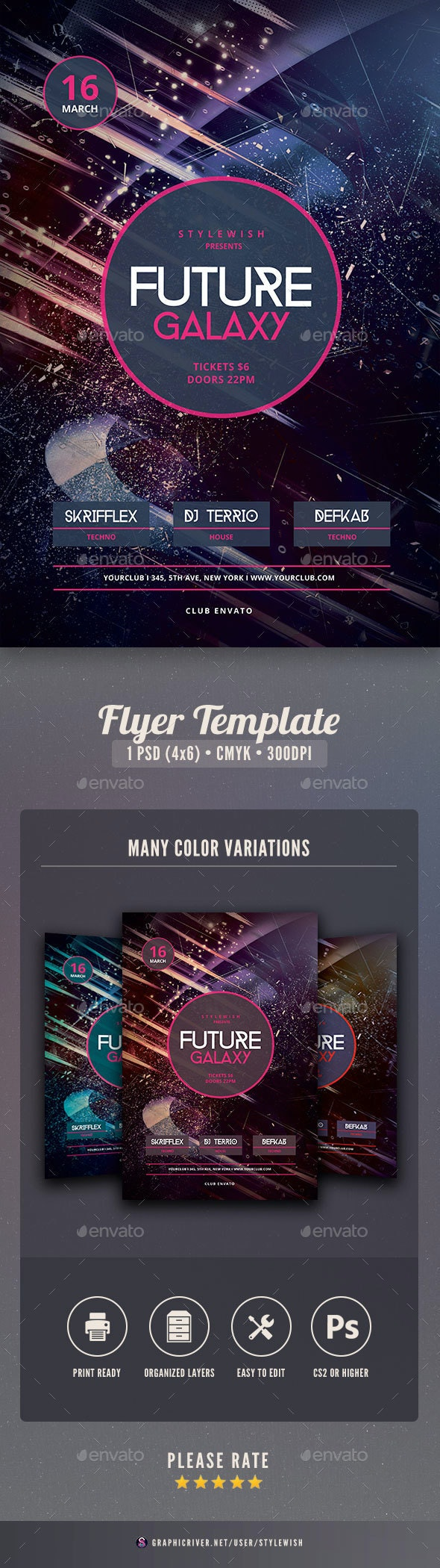 Future Galaxy Flyer - Clubs & Parties Events