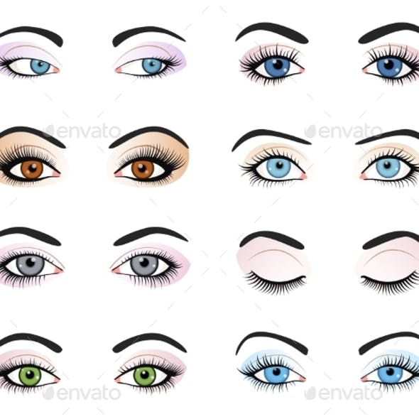 Set Of Female Eyes And Brows Image With