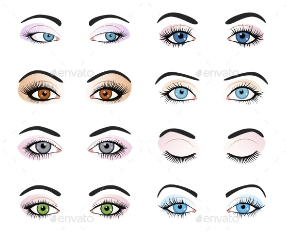 Set Of Female Eyes And Brows Image With - People Characters
