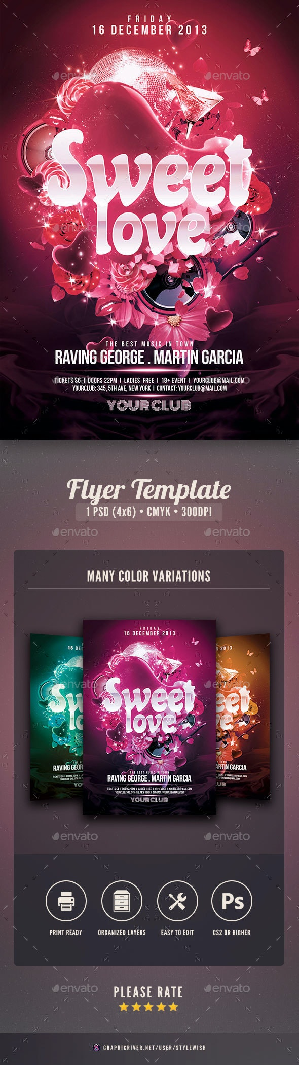 Sweet Love Flyer - Clubs & Parties Events