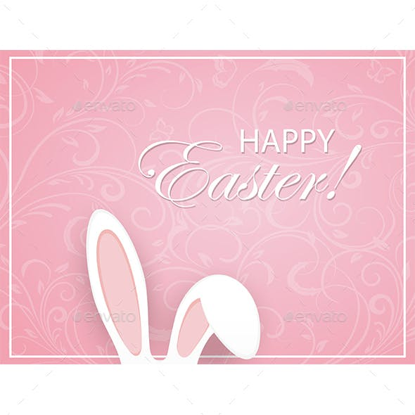 Pink Easter Background with Ornament and Rabbit Ears