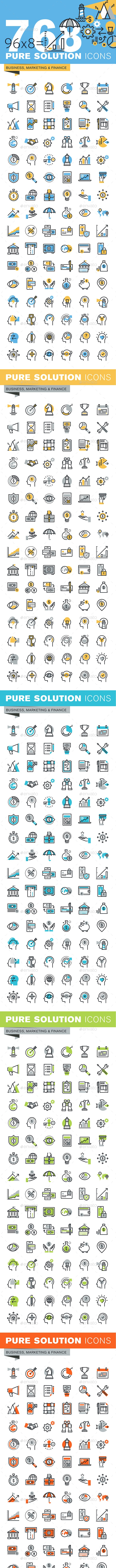 Set of Thin Line Flat Design Icons of Business and Finance - Business Icons