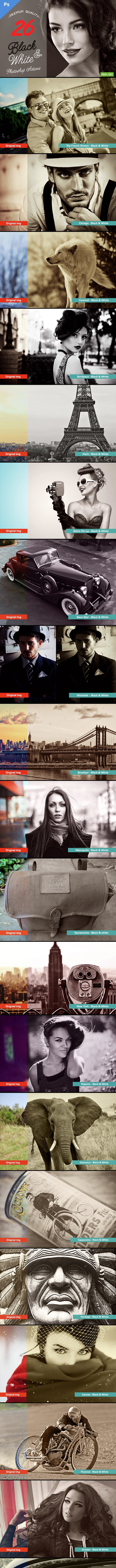 26 Black & White Adobe Photoshop Actions - Actions Photoshop