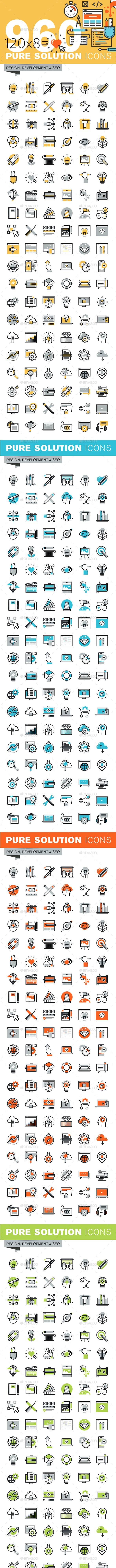 Set of Thin Line Flat Design Icons of Design, Development and SEO - Icons