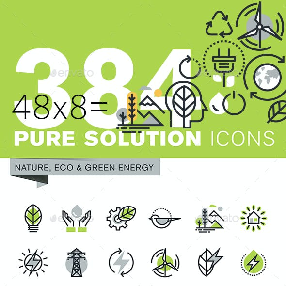 Set of Thin Line Flat Design Icons of Environment and Green Technology