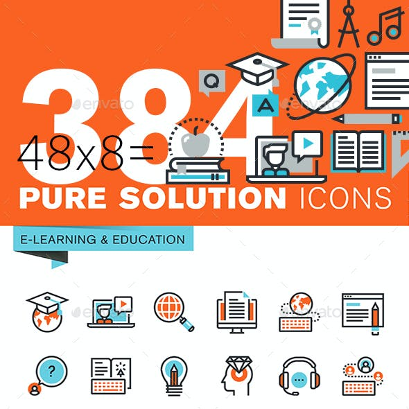 Set of Thin Line Flat Design Icons of Education