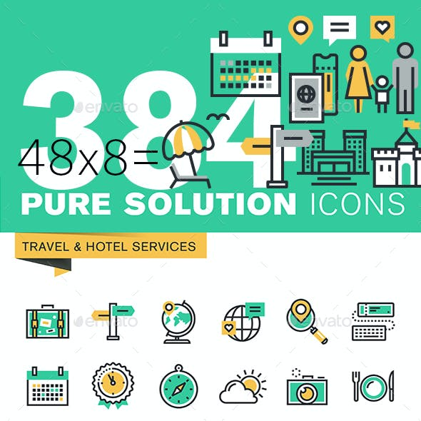Set of Thin Line Flat Design Icons of Travel and Tourism