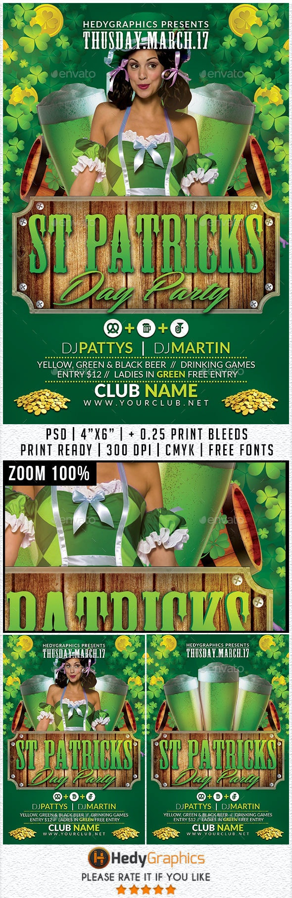 St Patrick Day Party - Flyer Template - Holidays Events