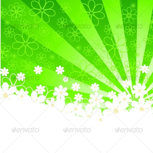 green background with daisies and sunshine. vector - Characters Vectors