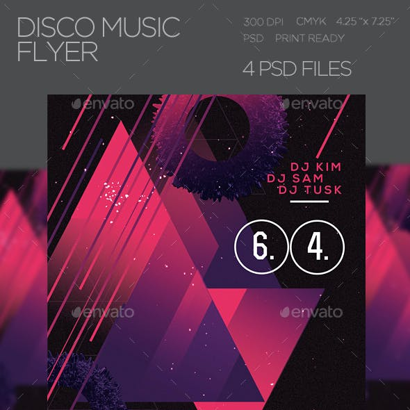 Disco Music PSD Flyer