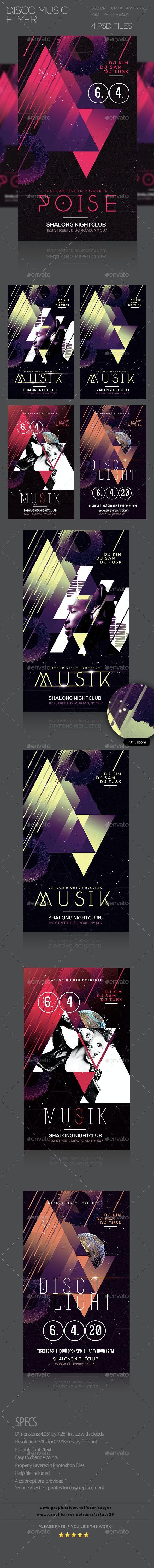 Disco Music PSD Flyer - Clubs & Parties Events