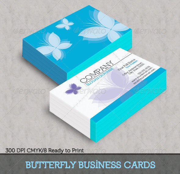 Blue Butterfly Business Cards - Corporate Business Cards