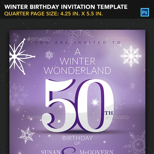 Winter Birthday Invitation Template