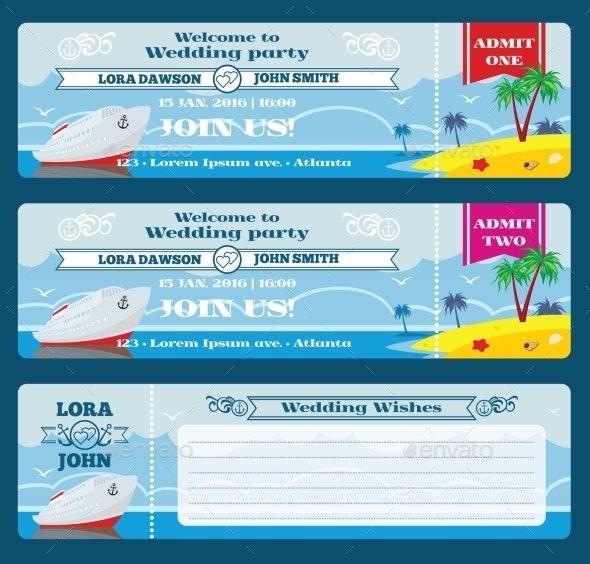 Retro Boarding Pass Ticket. Wedding Invitation