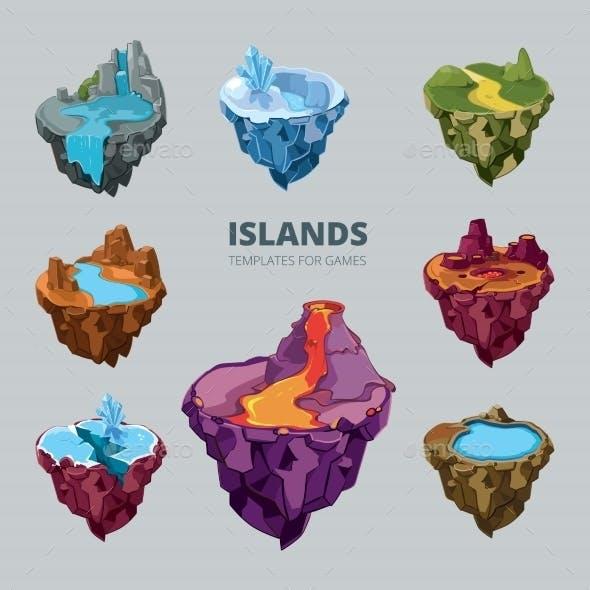 Isometric 3d Set Of Flying Islands