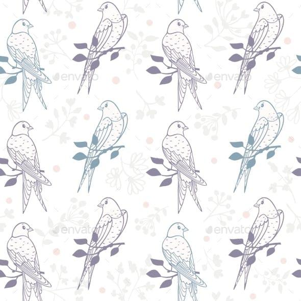 Swallows Seamless Pattern