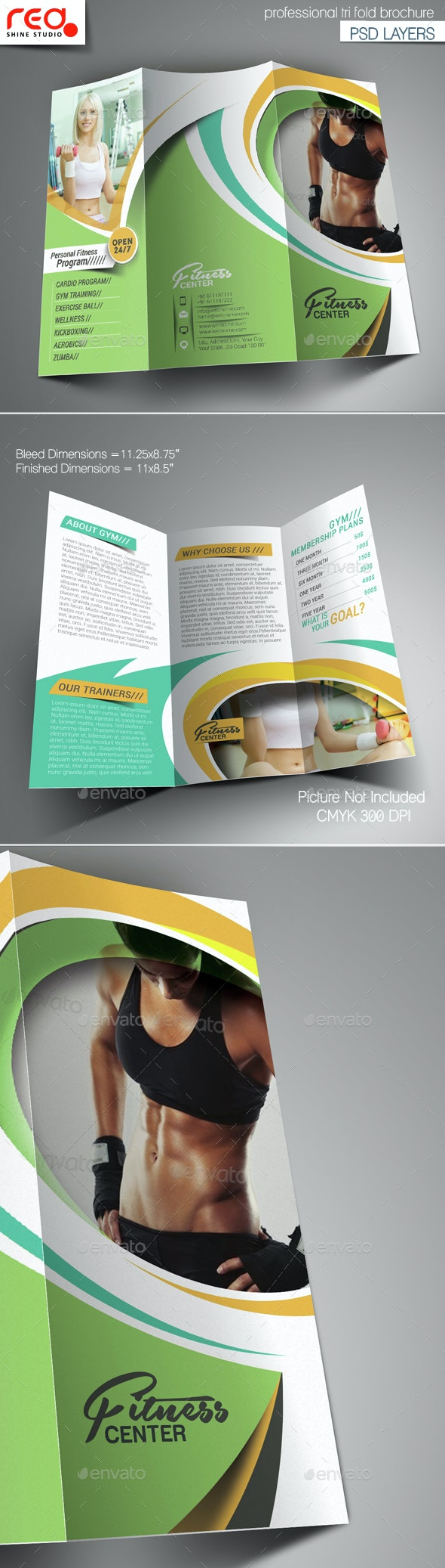 Fitness & Yoga Center Trifold Brochure Template - Corporate Brochures