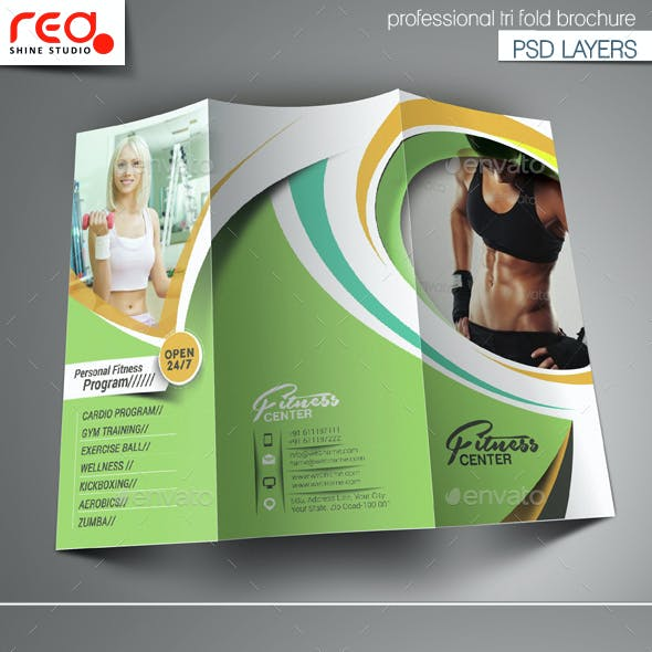 Fitness & Yoga Center Trifold Brochure Template