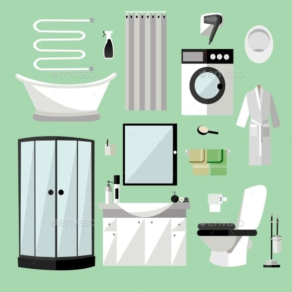 Bathroom Interior Furniture. Vector Illustration