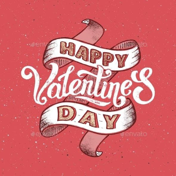 Happy Valentines Day Vintage Poster