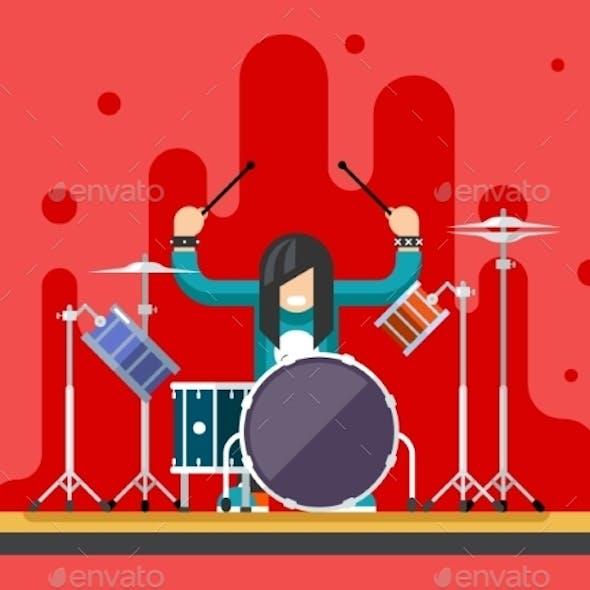Drummer Icons Set Hard Rock Heavy Folk Music