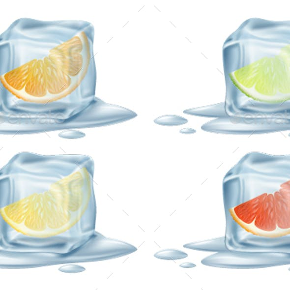 Ice Cubes with Citrus Fruits