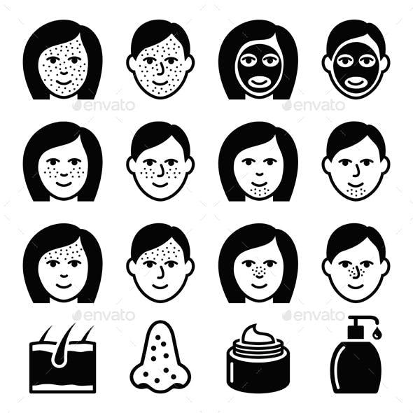 Skin Problems - Acne Spots Treatment Icons Set
