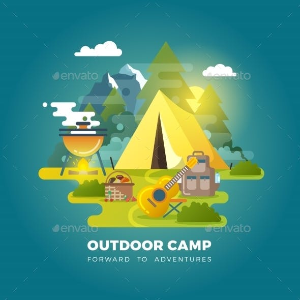 Camping Background with Tourist Tent