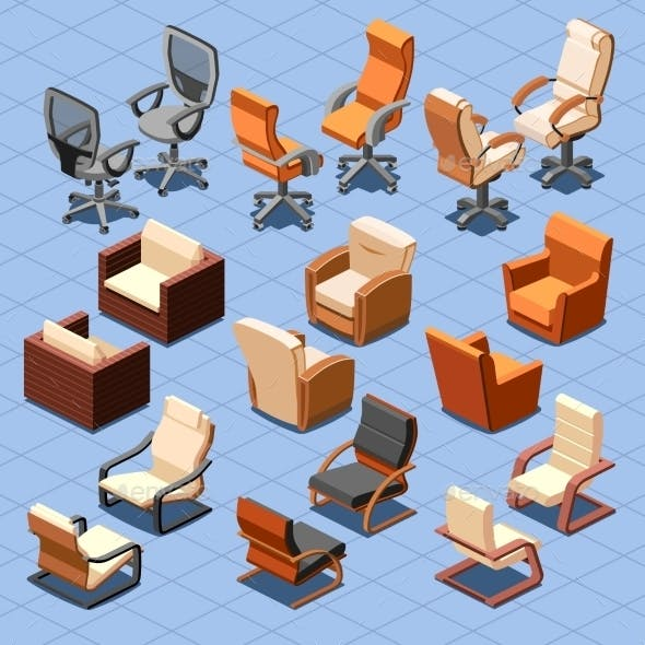 Chair and Armchair Isometric Set