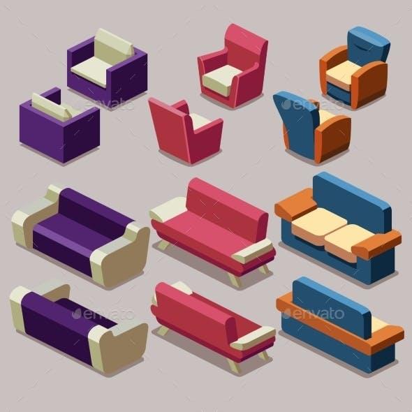 Living Room Isometric Furniture Set