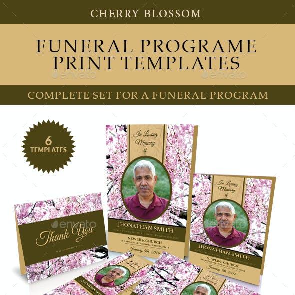 Cherry Blossom Funeral Print Templates Combo Set