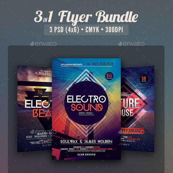 Electro Party Flyer Bundle Vol2