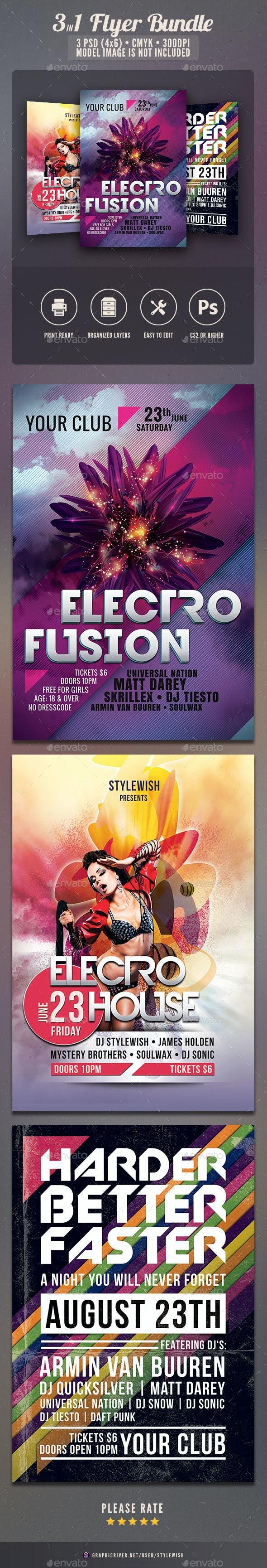Electro Party Flyer Bundle - Clubs & Parties Events