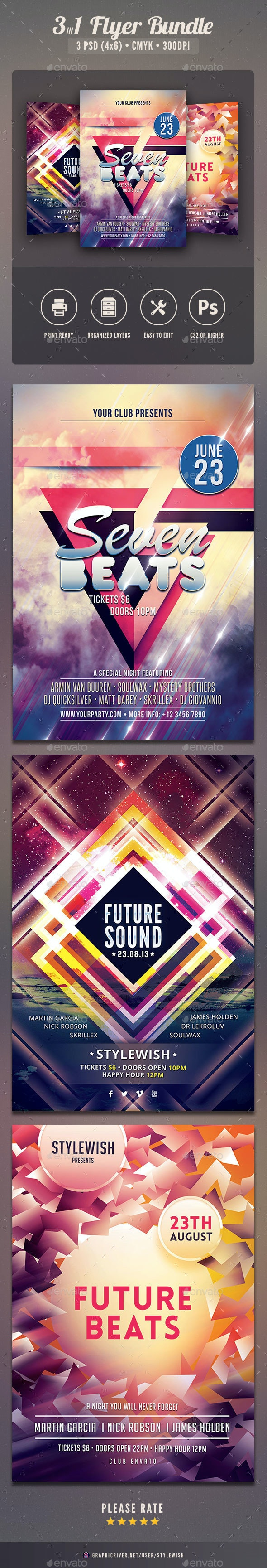 Future Party Flyer Bundle - Clubs & Parties Events