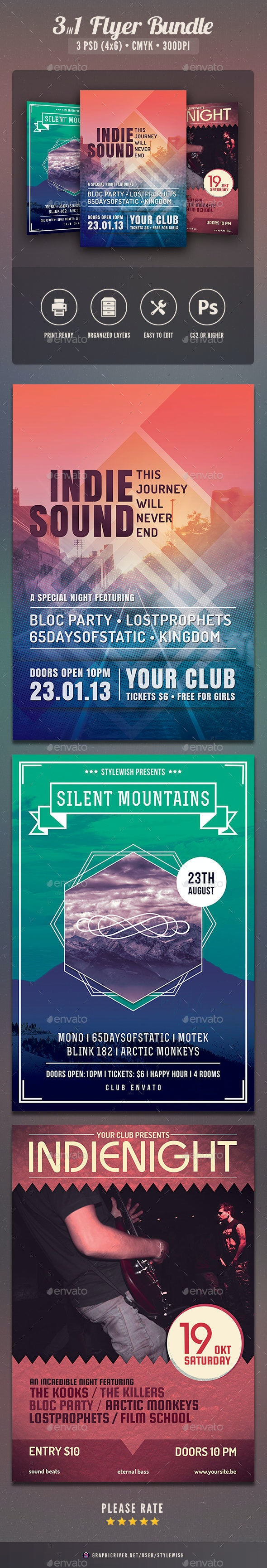 Indie Flyer Bundle - Concerts Events