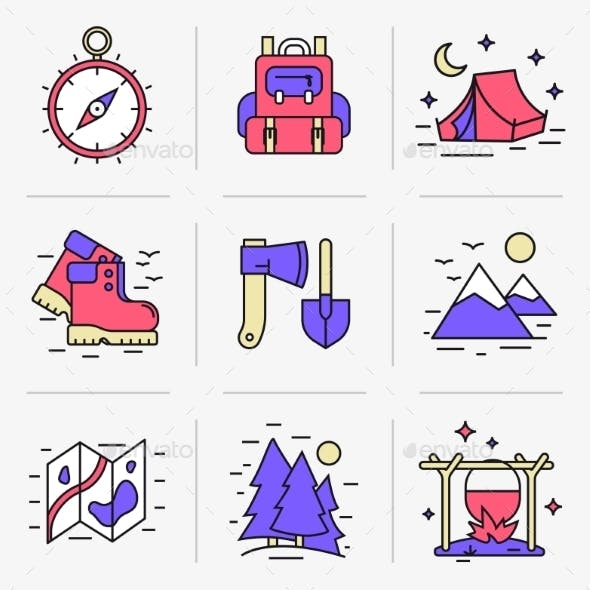 Outdoors Flat Line Icon Set